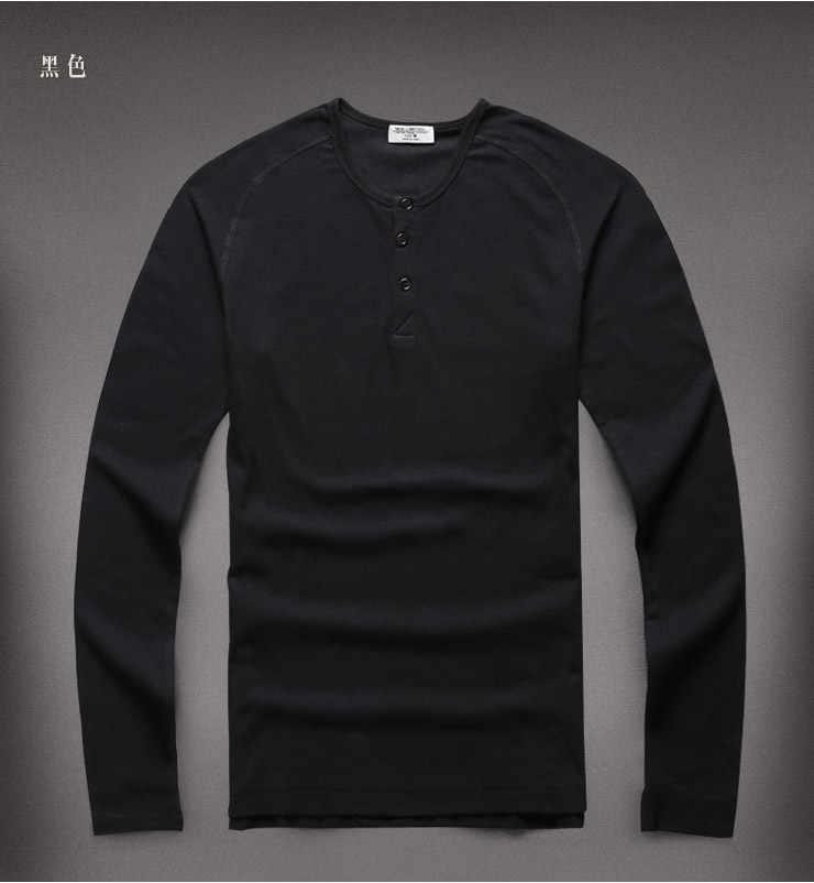 Футболки Хенли, брендовая футболка, облегающая, одноцветная, мужская, теплая, с длинным рукавом, хлопок, пуловер, Camisa Masculina, мужская повседневная, новинка