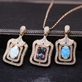 Women Luxury Necklace Pendant Created Fire Opal Rainbow Zircon Stone Champagne Gold Filled Zircon Necklaces Best Selling