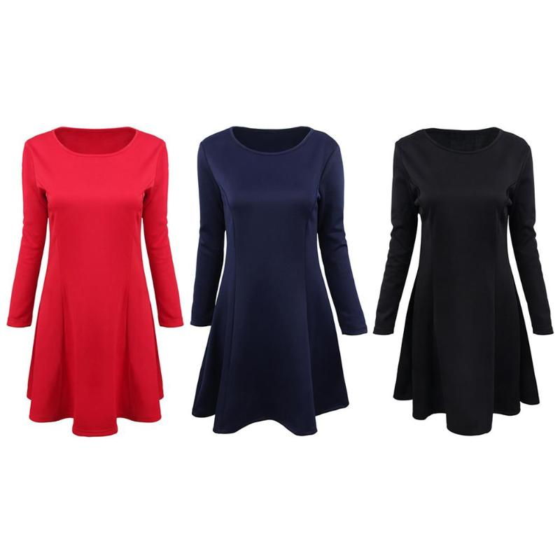 Solid Color Fashion Women Slim Fit Elegant Swing Dresses Long Sleeve High Waist O-Neck Clothes Autumn Spring All-match Dress