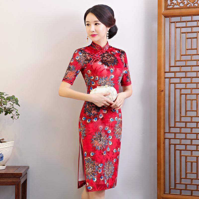 Красное винтажное китайское платье Элегантное Благородное женское вечернее Ципао Vestidos оверсайз 3XL 4XL традиционное азиатское сценическое шоу Cheongsam - Цвет: Style 1