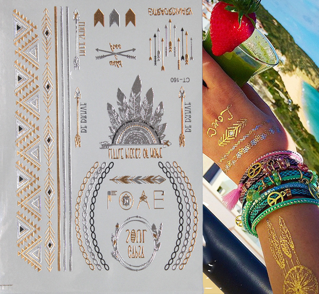 Silver & Gold Tatoo Temporary Tattoo Necklace For Woman Beauty Metal Texture Flash Tattoo Stickers For Body Paint Art