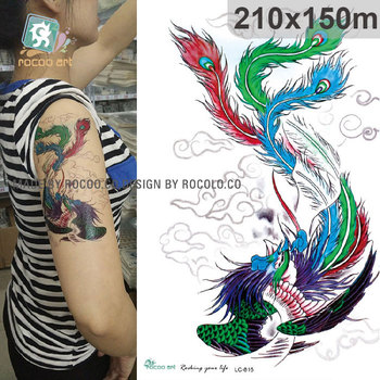 LC-816/New 2017 3D Big Blue Dragon Designs Cool Temporary Fake Phoneix Tattoos For arm sleeve Men Women Tattoo