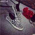 AREQWNew 2017 повседневная Уютные женщины Кожаные ботинки slipony Женские летняя обувь для женщин Обувь женщина зерна Леопарда обувь
