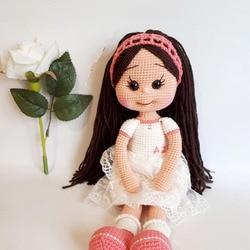 Вязаные игрушки амигуруми ручной работы погремушки Кукла Девушка номер модели DXR001