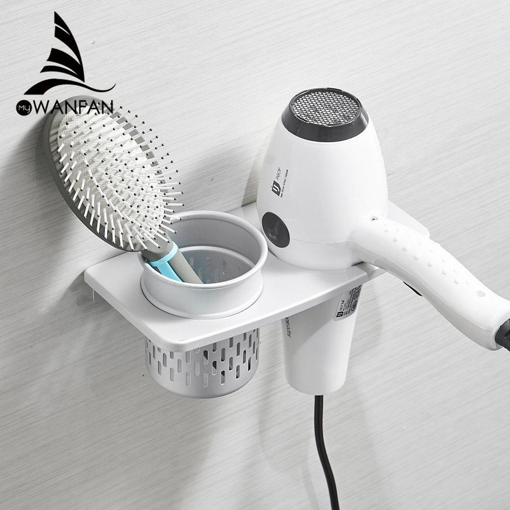 Hair Dryer Holder With Cup Households Rack Hair Blow Dryer Shelf ...