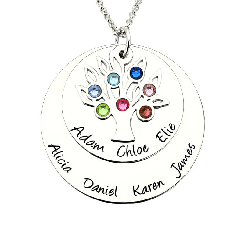AILIN Personalized Family Tree Birthstone Mother Necklace Silver Layered Disc Family Name Necklace Gift for Mother &Grandma цена и фото