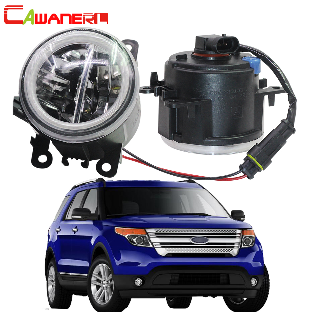 цена на Cawanerl 2 Pieces Car LED Bulb 4000LM Fog Light + Angel Eye Daytime Running Light DRL 12V For Ford Explorer 2011 2012 2013 2014