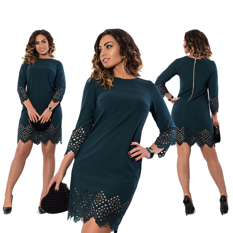 5xl 6xl 2017 dress casual encaje de gran tamaño de moda de verano oficina dress