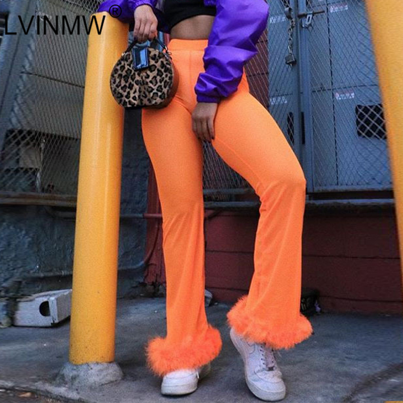 LVINMW Sexy Fleece Fur Patchwork Flare Trousers 2019 Spring Women High Waist Skinny Pants Solid Party Club Female Pants