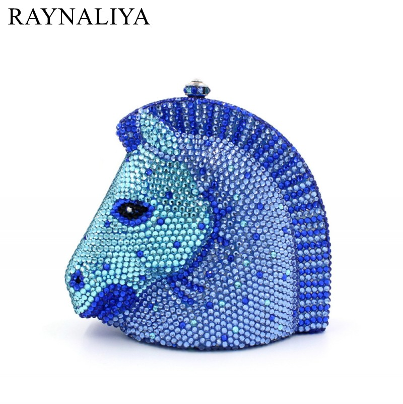 Horse Head Luxury Crystal Minaudiere Gold Handcraft Party Evening Bag Sparkly Silver Diamond Ladies Banquet Bags Smyzh-e0207