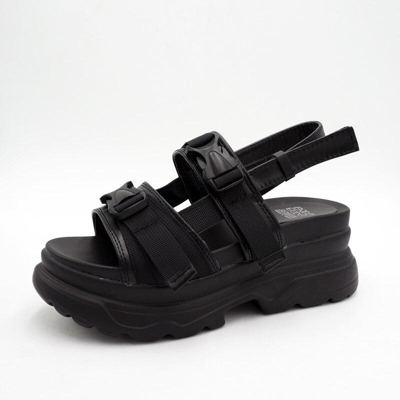 Rasmeup 8 Cm Frauen Plattform Sandalen 2019 Mode Sommer Frauen Strand Chunky Sandale Casual Komfort Dicken Sohlen Frau Schuhe Schwarz Frauen Sandalen