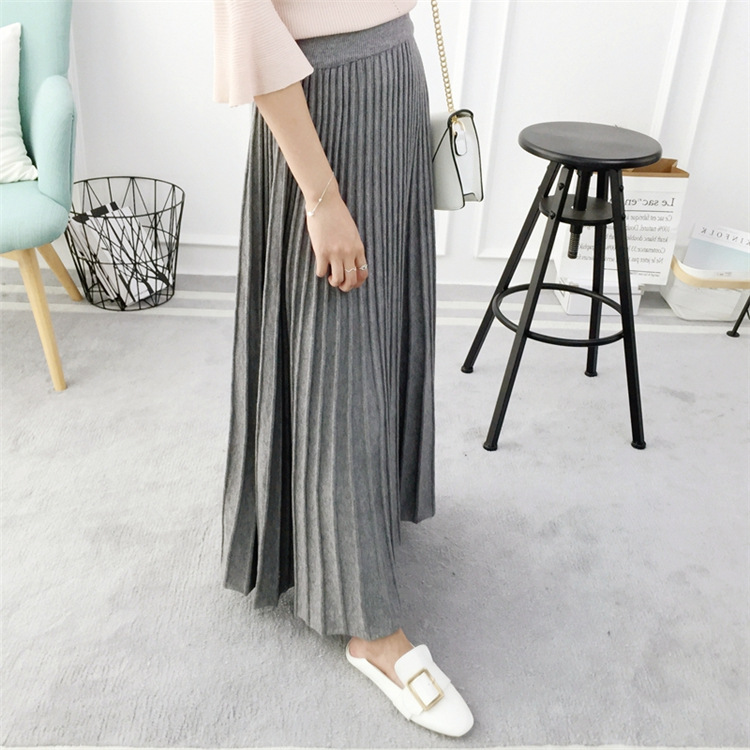 Women Waist Skirt Saia Saias Black Womens Black A Grey Thermal Gtgyff High gray Pleated Stretch Warm Knitted Midi Skirts For line Elastic pqPOUt
