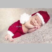 2 pcs chapeau + pantalon Santa Claus Halloween De Noël pour bébé ensemble Nouveau-Né Vêtements Chauds Accessoires Faits À La Main Tricoté Nouveau-Né infantile