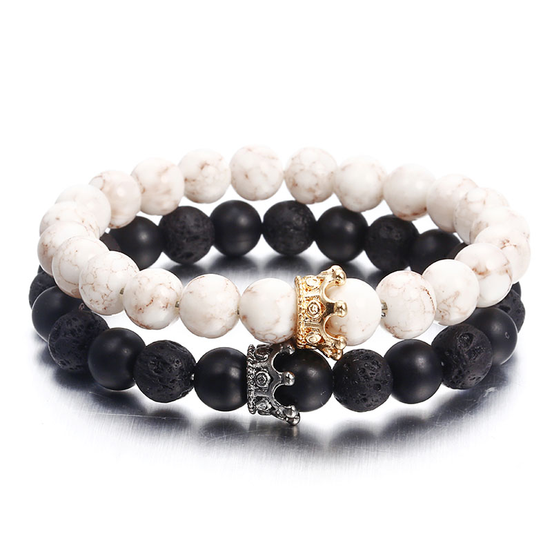 Fashion Volcanic Stone Bracelet Black Lava Natural Rock Bead String Gold Crown 2019 New