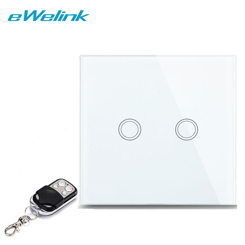 eWelink EU/UK  2 Gang 1 Way Crystal Glass Touch Switch, Wall Switch, Wireless Remote Control Light Switches For Smart Home eu uk standard 3 gang 1 way wireless remote control wall light switches crystal glass panel remote touch switch for smart home