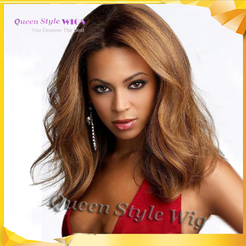 fc8adfa3926 US $46.0 |Celebrity Beyonce Sexy Choppy Hairstyle Medium Body Wave  Synthetic Light Brown Color Celebrity Lace Front Wig 14 Inches on  Aliexpress.com | ...