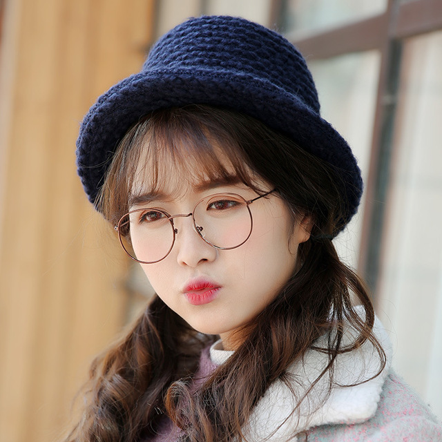 Curling wool hat ladies Autumn and winter new dome knit hat Fashion knit basin pot fisherman cap