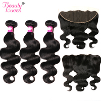 Brazilian Hair Weave Body Wave Bundles Lace Frontal Closure With Bundles Human Hair 3 Bundles With