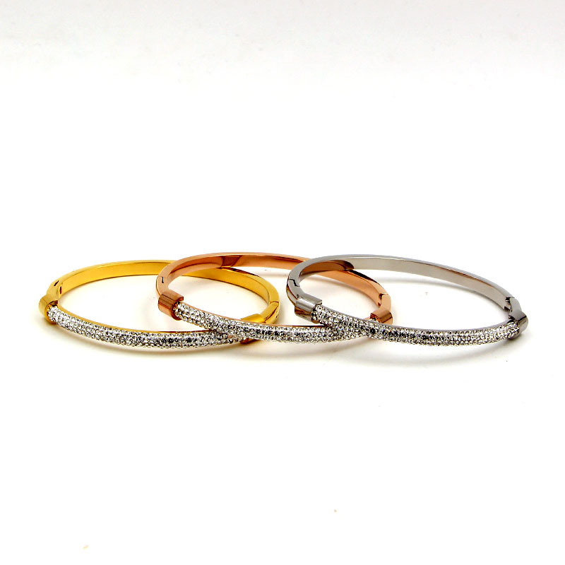 new arrive stainless steel fashion jewelry sliver gold rose color bracelet set for couple gift TYCB18