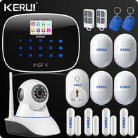 English Russian Touch Keyboard Wireless GSM Home Security Alarm System App Control Wireless Wifi IP