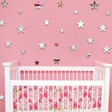 20Pcs Silver Stars Mirror Wall Stickers Acrylic Removable Mirror Sticker DIY Decorative Wall Stickers for Kids Rooms Decor(China)