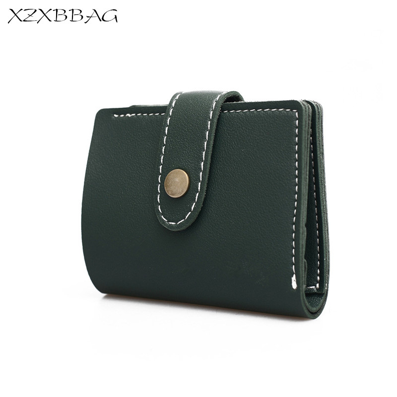 XZXBBAG Vintage PU Leather Women Short  Wallet Female Credit Card Holder Hasp Purse Students Money B Cluth Wallets XB128 casual weaving design card holder handbag hasp wallet for women