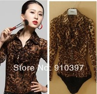 HOTSALE women chiffon leopard shirt long-sleeve body shirt with underwear v NECK blouse office lady's sexy working shirt