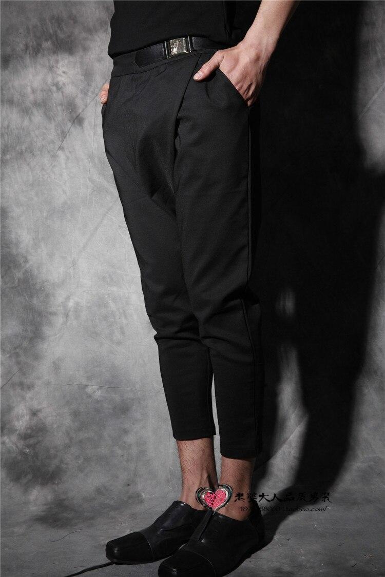 Croix Noir Mode Personnalité Longueur Costumes Cheville Été Chanteur Pantalons Hommes Slim Occasionnels Nouvelle Vêtements Corps 2016 Mince UwSaqnF8F