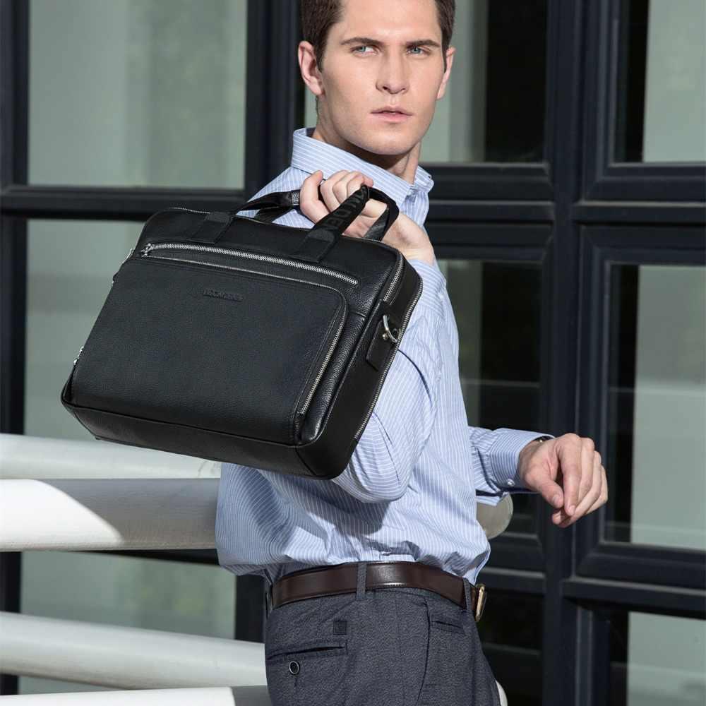"""BISON DENIM couro Genuíno Pastas 14 """"Laptop Bolsa de Negócios dos homens Saco Crossbody Mensageiro/Sacos De Ombro para Homens n2333-3"""