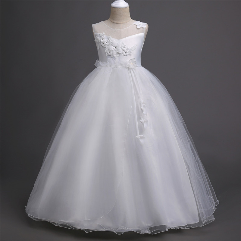 White Flower Girl Dresses for Weddings Pageant Party 2018 Long Ball Gown Birthday First Communion Dresses for Girls Evening Gown ball gown sky blue open back with long train ruffles tiered crystals flower girl dress party birthday evening party pageant gown