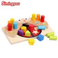 Simingyou الأطفال ألعاب خشبية التعلم والتعليم الخنفساء الذاكرة شكل اللون مطابقة المعرفي اللبنات c20 إسقاط الشحن