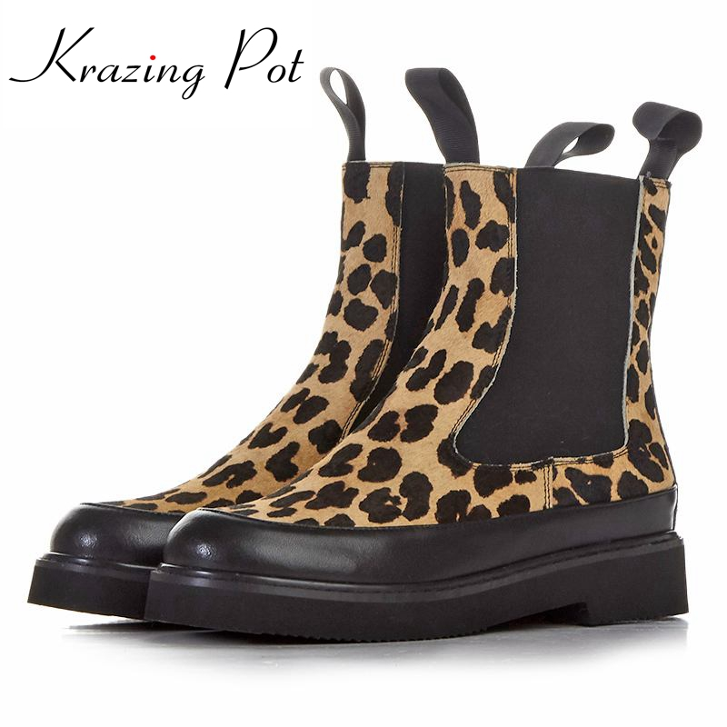 2018 fashion women winter brand shoes round toe horse hair leopard grain mid-calf boots low-heel sexy chelsea platform boots L58