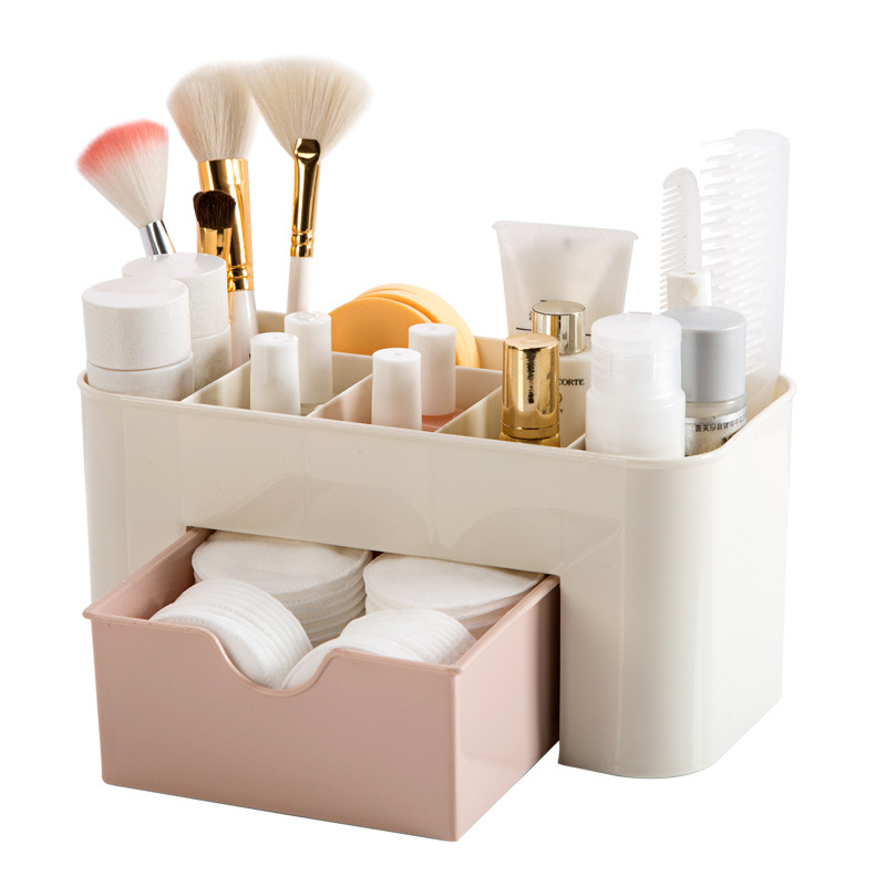 Multi-functional Jewelry Box Plastic Cosmetic Storage Box With Small Drawer Desk Sundries Storage Container Organizer