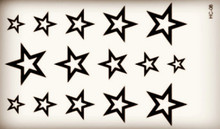 Empty Black Cute Stars Body Art Beauty Makeup Waterproof Temporary Tattoo Stickers