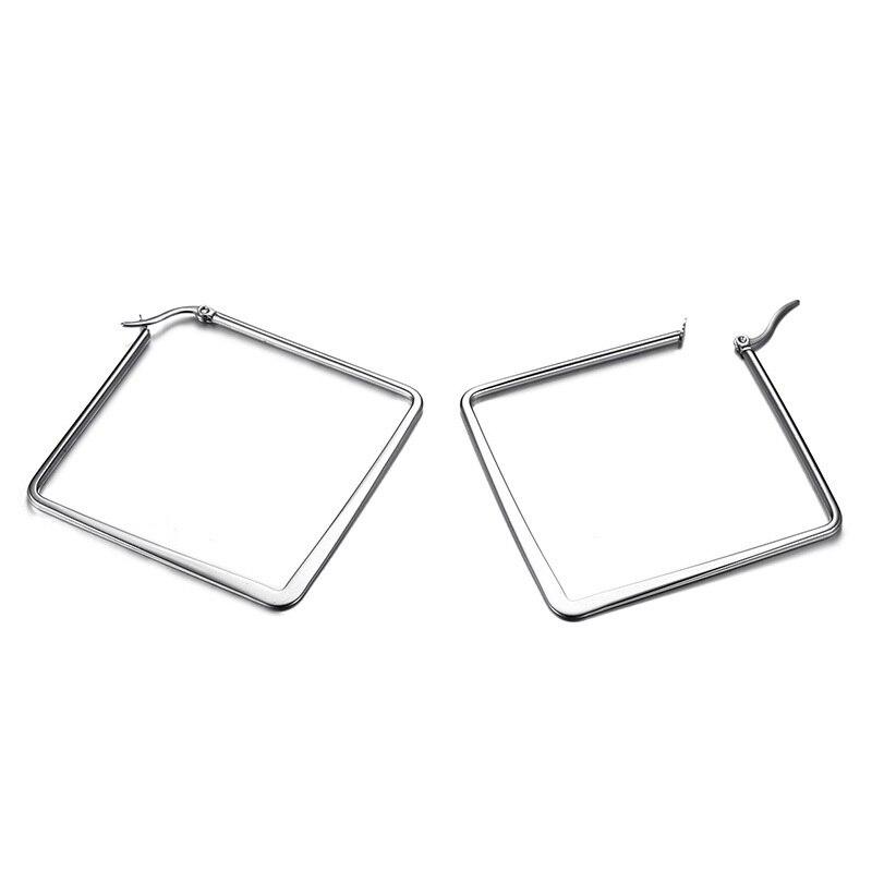 add319e2d7c2 € 1.43 40% de DESCUENTO|Pendientes de aro cuadrado geométrico Boho para  mujeres de acero inoxidable modernos elegantes clásicos de oro para mujer  ...