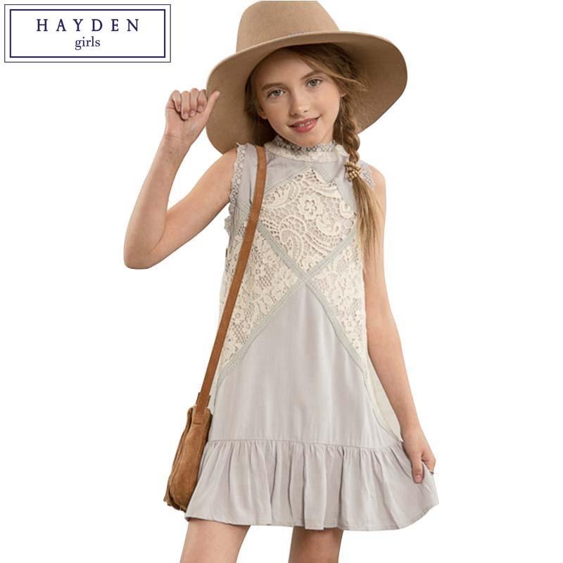 HAYDEN Ruffle Dress Girls Sleeveless Lace Dress 2017 Cute Summer Sundresses Kids Girl Clothes 10 Years Girls Clothing Brand