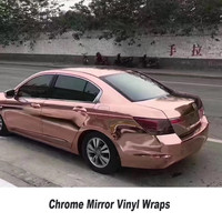 High Stretchable Rose Gold Chrome Air Bubble Free Mirror Vinyl Wrap Film Sticker Sheet 5ft X