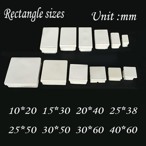Furniture 15x30mm Chair Feet Plug Blanking Tube Insert End,white Oblong Rectangle Pipe Plastic End Chair Feet Pad Leg End Cover Cap