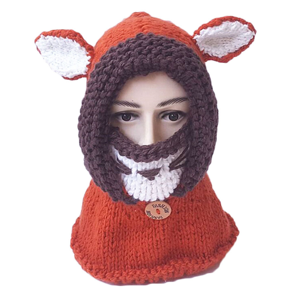 3ef58514c Knitted Kid Children Cap Shawl Scarf Winter Animal Shape Hood Hat Mask Ear  Covering Warm Keeping