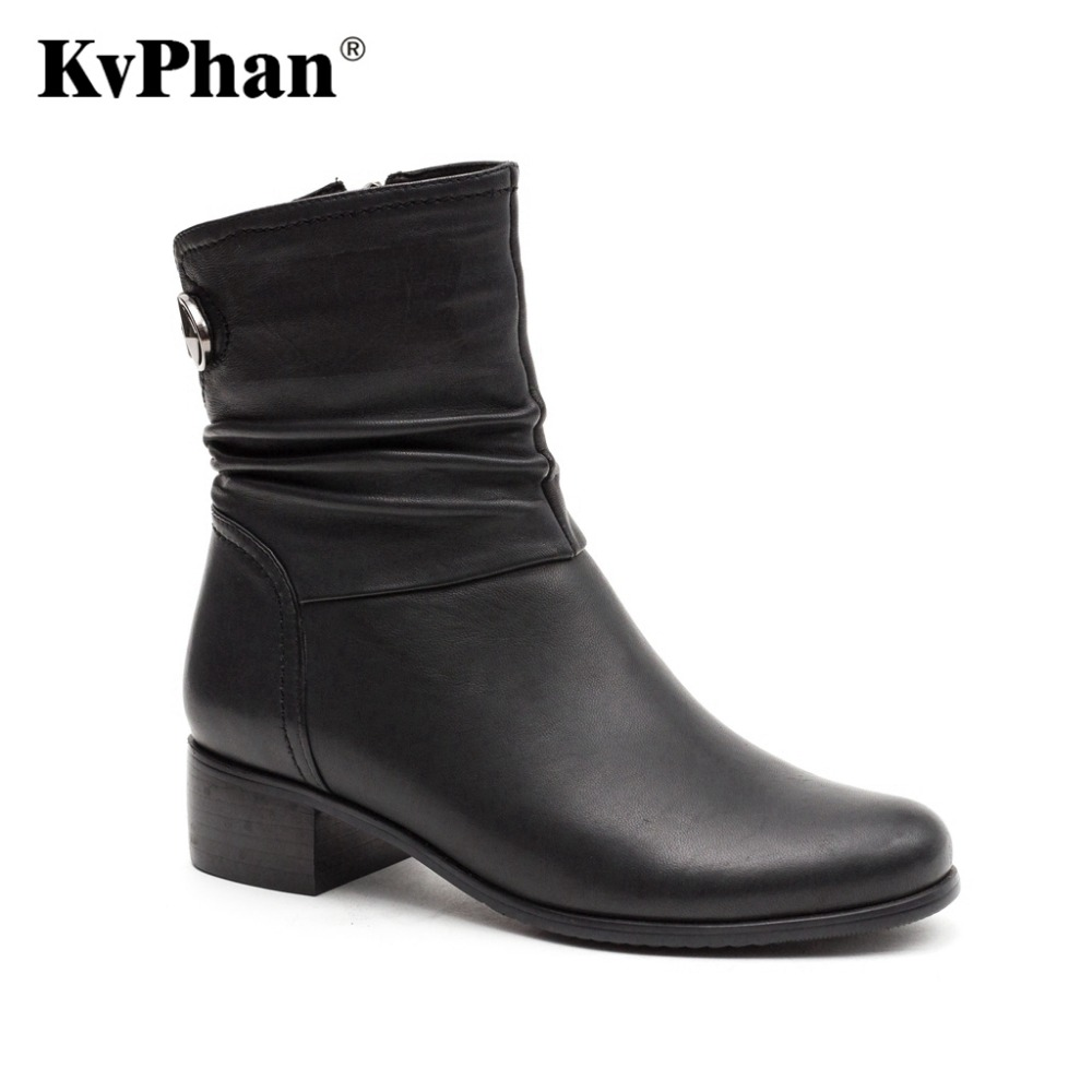 KvPhan Genuine Leather Women Boots 2017 Spring Autumn Fashion Pleated Ankle Boots Kid Suede Soft Outdoor Casual Med heels Shoes front lace up casual ankle boots autumn vintage brown new booties flat genuine leather suede shoes round toe fall female fashion