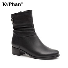 KvPhan Genuine Leather Women Boots 2017 Spring Autumn Fashion Pleated Ankle Boots Kid Suede Soft Outdoor Casual Med heels Shoes