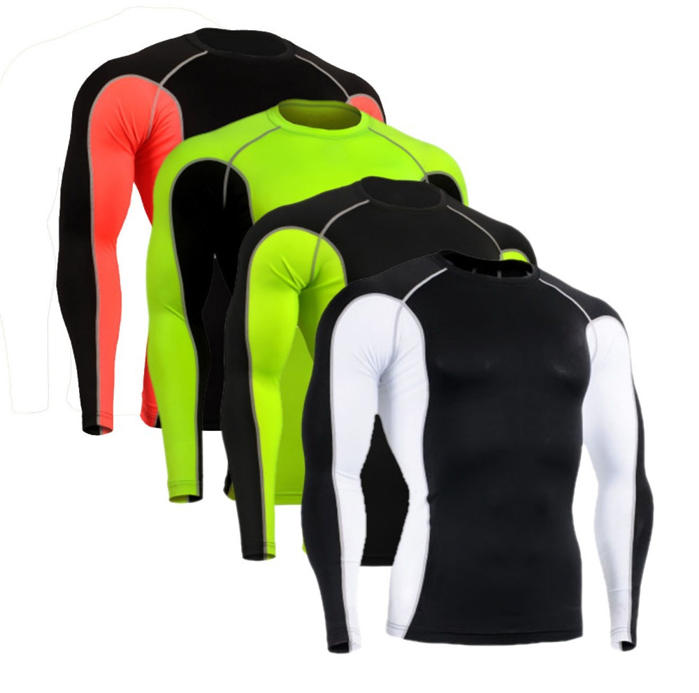 cycling compression wear tights base layer running Fitness Excercise men maillot ciclismo soccer long sleeve tops