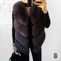 BFFUR Real Fox Fur Vest Luxury Brand Women Outwear Coat Jacket Natural Silver Fur Vests Genuine Spell Fox Fur Gilet BF V0121