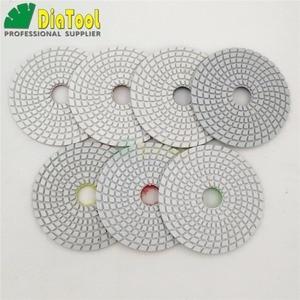 "DIATOOL 7pcs/set 4"" Diamond Flexible Polishing Pads for Stone Ceramic Tile White Bond No Color Fade Sanding disc grinding disc"