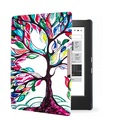 Printed smart PU leather cover case open side cover case for 2014 kobo aura h2o 6.8'' ereader smart cover case