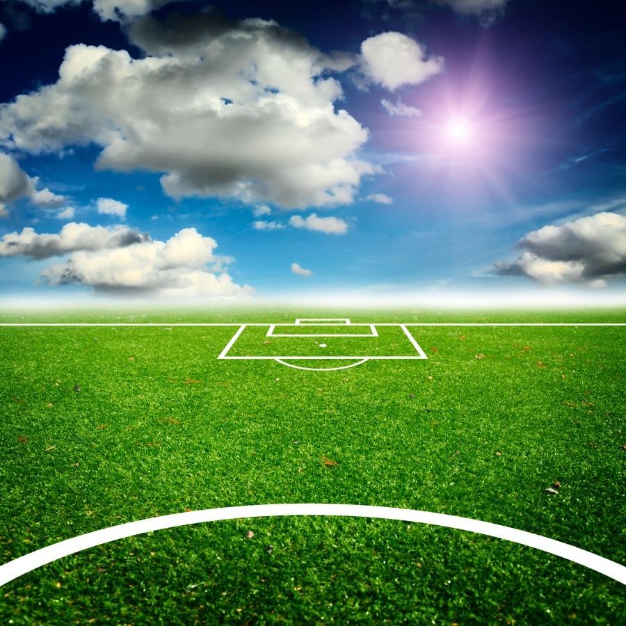 Campo De Futebol de Laeacco Nuvens Fundos de Fotos Personalizado Fotografia Digital Backdrops Para Estúdio de Fotografia