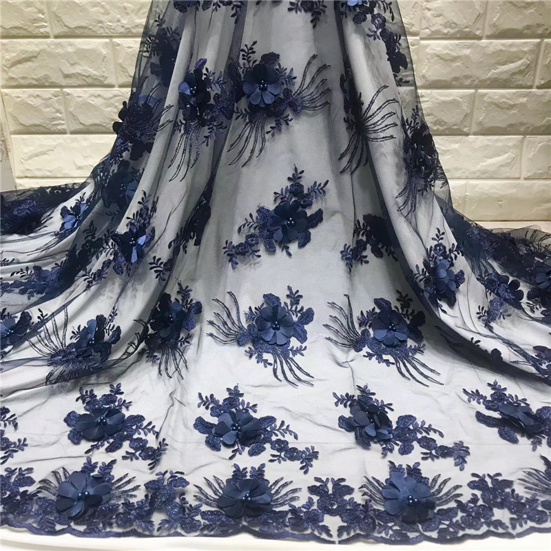 3D flowers french lace fabric 5 yards beaded tulle lace fabric dubai appliques mesh lace bridal wedding party dress lace 528 in Lace from Home Garden