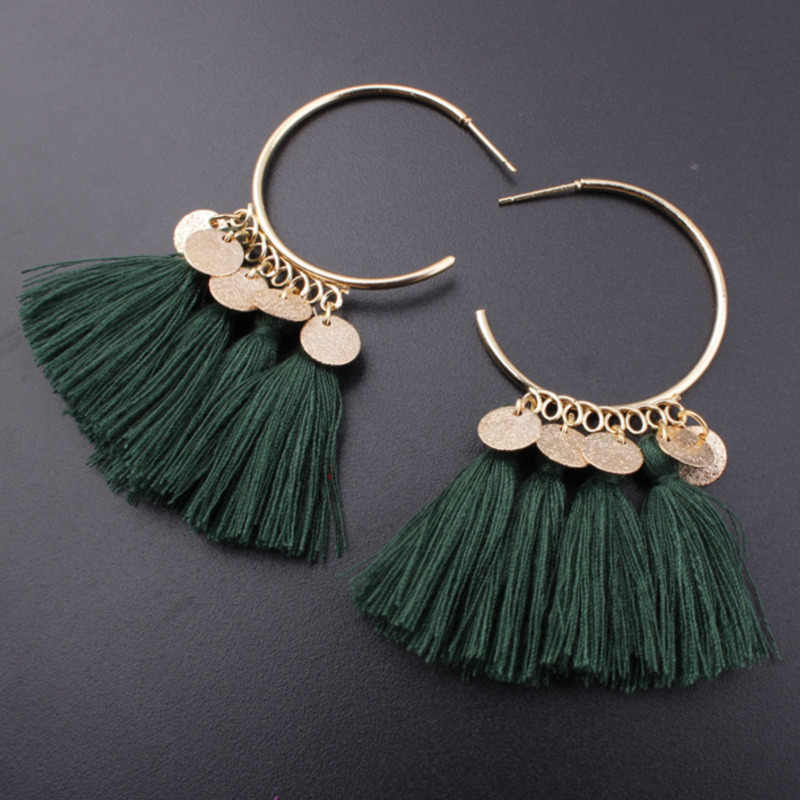 AMADER Tassel Earrings For Women Ethnic Sequins Drop Earrings Bohemia Fashion Jewelry Trendy Cotton Fringed Long Dangle Earrings
