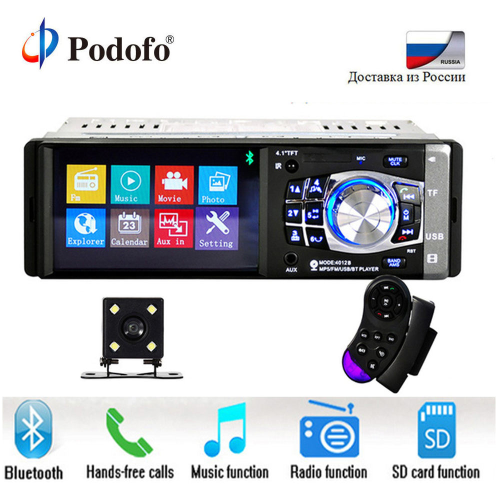 Podofo 1 Din Auto 4.1 inch HD Car Multimedia Player MP3 MP5 Audio Stereo Radio Bluetooth FM Remote Control With Rear View Camera 7 inch 2 din 7021g car mp5 player gps navagation bluetooth auto multimedia player with fm radio rear view camera remote control