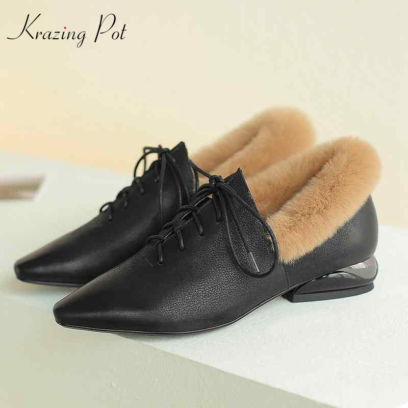 Krazing Pot genuine leather rabbit fur women thick low heels lace up pointed toe keep warm European office lady winter pumps L65 цена